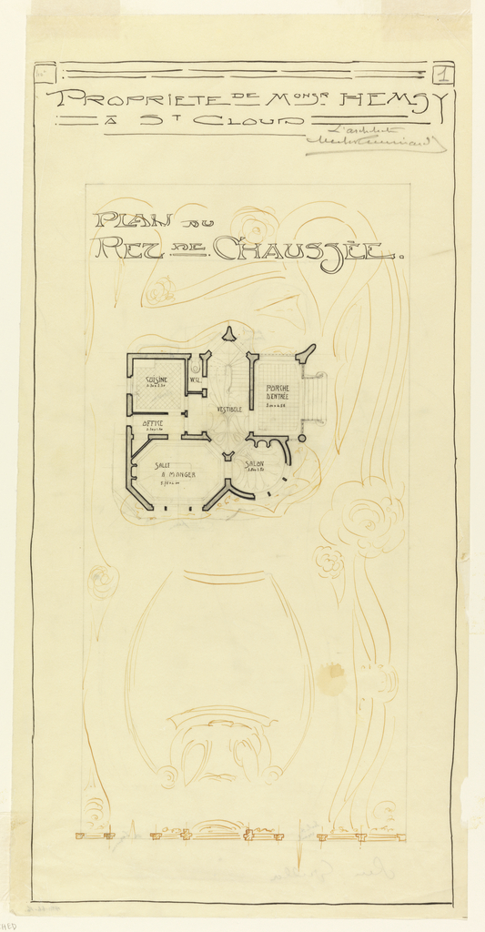 Drawing, Hemsy Villa, St. Cloud, Plan du Rez de Chaussee, 1913