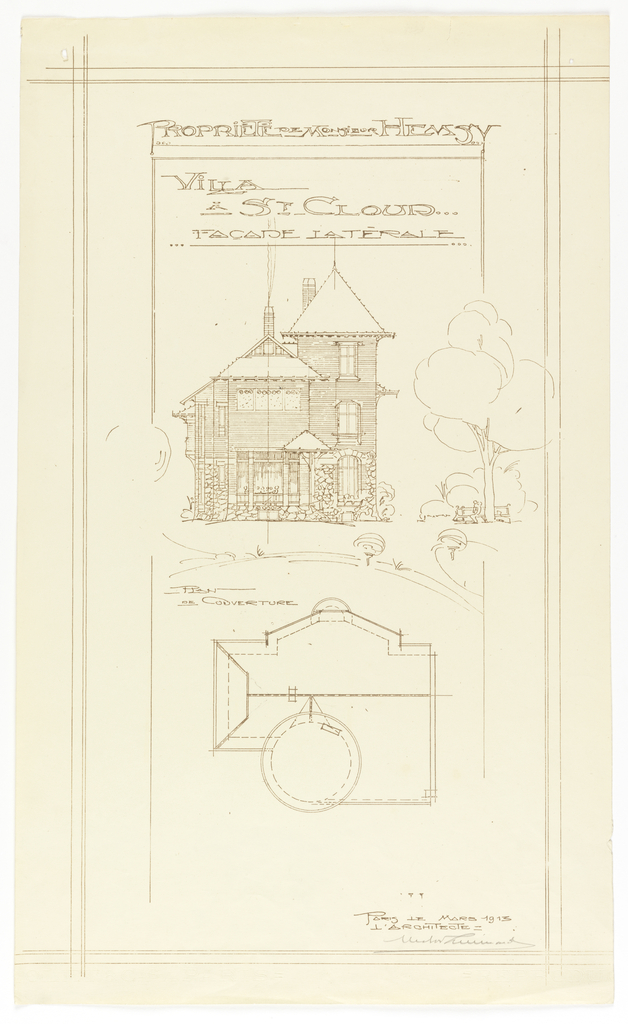 Photostat, Villa of M. Hemsy, St. Cloud, Facade Laterale, 1913
